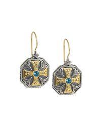 Konstantino - Green Silver & 18k Topaz Cross Drop Earrings - Lyst