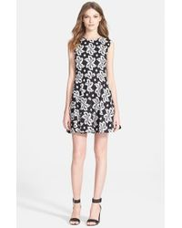 Diane von Furstenberg | Black 'jeannie' Print Fit & Flare Dress | Lyst