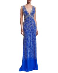 Roberto Cavalli - Blue Sleeveless Leaf-embroidered Gown - Lyst