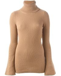 Stella McCartney - Natural Ribbed Turtle Neck Sweater - Lyst