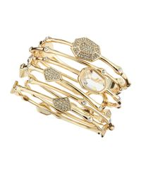 R.j. Graziano | Metallic Mixed Set Of 6 Crystal Bangles | Lyst