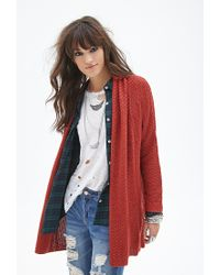 Forever 21 | Red Oversized Shawl Cardigan | Lyst