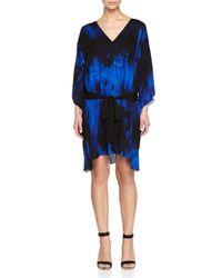 Halston - Blue Kimono Style Caftan W/ Tie-waist - Lyst