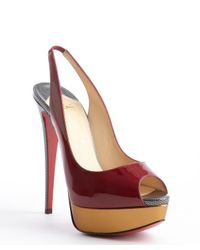 Christian Louboutin - Red Rouge Patent Leather Lady Peep Sling 150 Platform Pumps - Lyst