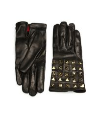 Valentino - Black Allover Studs Leather Gloves - Lyst