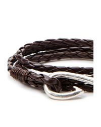 Forever 21 - Brown Braided Faux Leather Hook Bracelet for Men - Lyst