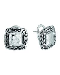 John Hardy | Metallic Palu Silver Medium Square Earrings | Lyst