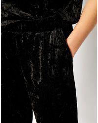 Monki - Black Crushed Velvet Trouser - Lyst