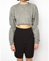 Back by Ann-Sofie Back | Gray Shoelace Crop Sweat Top | Lyst