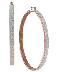 Steve Madden - Metallic Twotone Glitter Large Hoop Earrings - Lyst