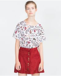Zara | White Floral Print T-shirt | Lyst