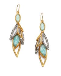 Alexis Bittar - Metallic Elements Gilded Muse D'Ore Amazonite & Crystal Dangling Leaf Drop Earrings - Lyst