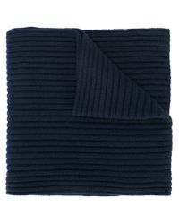 Moncler - Blue Ribbed Knit Scarf for Men - Lyst