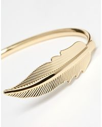 ASOS | Metallic Open Feather Cuff Bracelet | Lyst