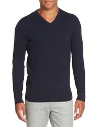 Vince | Blue Trim Fit Cashmere V-neck Sweater for Men | Lyst