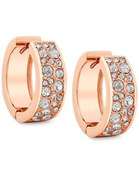 Guess | Pink Rose Gold-tone Hoop Earrings With Crystal Accents | Lyst