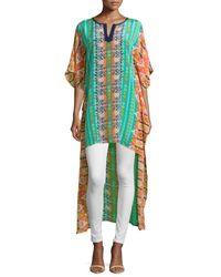 Tolani - Green Mandira High-low Printed Caftan Tunic - Lyst