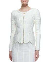 Hervé Léger - White Origami Zip-front Jacket - Lyst