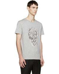 Alexander McQueen - Gray Grey Bird Skull T-shirt for Men - Lyst
