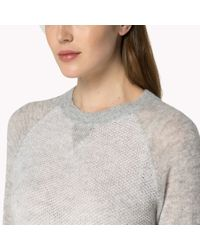Tommy Hilfiger | Gray Wool Blend Textured Sweater | Lyst