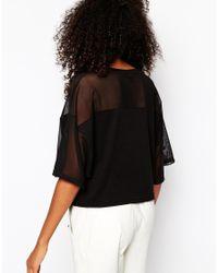 Monki - Black Mesh Tshirt - Lyst