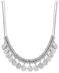 Lucky Brand | Metallic Silver-tone Shaky Coin Frontal Necklace | Lyst