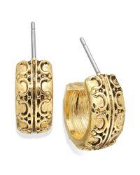 Lauren by Ralph Lauren - Metallic Goldtone Textured Small Hoop Earrings - Lyst