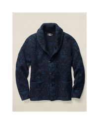 RRL - Blue Jacquard Cotton-wool Cardigan for Men - Lyst