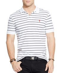 Polo Ralph Lauren | White Striped Performance Mesh Polo Shirt - Slim Fit for Men | Lyst