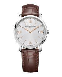 Baume & Mercier - Metallic Classima 10144 Stainless Steel & Alligator Strap Watch for Men - Lyst