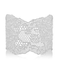 Aurelie Bidermann | Metallic Lace Silver-plated Cuff | Lyst