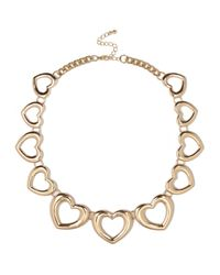 River Island | Yellow Gold Tone Heart Repeat Necklace | Lyst