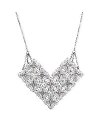 Jessica Simpson - Metallic Silvertone Crystal Accent Filigree Frontal Necklace - Lyst