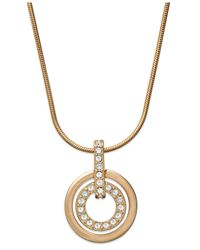 Swarovski | Pink Necklace, Rose Gold-tone Pave Double Open Circle Pendant Necklace | Lyst