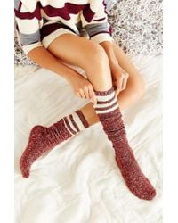 Urban Outfitters - Brown Marled Varsity Stripe Over-the-knee Sock - Lyst