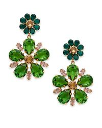 Dolce & Gabbana - Green Glitz Floral Double Drop Clip Earrings/goldtone - Lyst