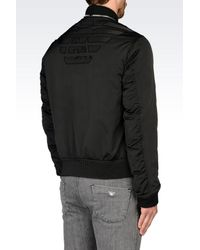 Emporio Armani | Black Bomber In Shiny Effect Technical Fabric for Men | Lyst