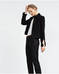 Zara | Black Double Fabric Trousers | Lyst