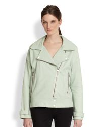 J Brand - Green Durham Oversized Leather Biker Jacket - Lyst