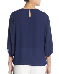 Chaus New York - Blue Lace Yoked Blouse - Lyst