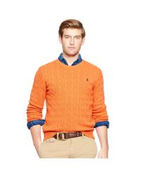 Polo Ralph Lauren | Orange Cable-knit Tussah Silk Sweater for Men | Lyst
