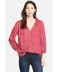 Velvet By Graham & Spencer | Red Print Voile Blouse | Lyst