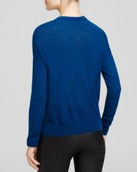 Vince | Blue Ribbed Trim Crewneck Sweater | Lyst
