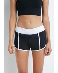 Forever 21 - Black Colorblock Woven Running Shorts - Lyst