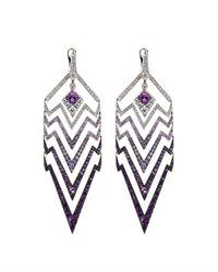 Stephen Webster - Purple Amethyst, Sapphire & Gold Deco Earrings - Lyst