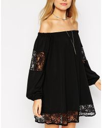 ASOS - Black Swing Dress With Off Shoulder Detail And Lace Inserts - Lyst