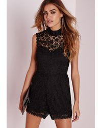 Missguided | Scallop Lace High Neck Playsuit Black | Lyst
