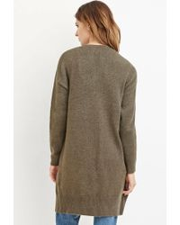 Forever 21 | Green Contemporary Open-front Longline Cardigan | Lyst