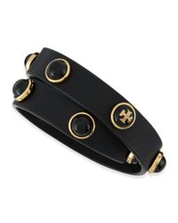 Tory Burch - Black Melodie Double-Wrap Leather Bracelet - Lyst