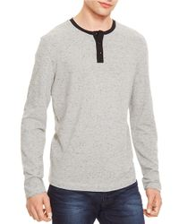 Kenneth Cole | Gray Long Sleeved Henley for Men | Lyst